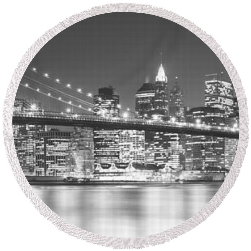 Photography Round Beach Towel featuring the photograph Nyc, New York City, New York State, Usa by Panoramic Images