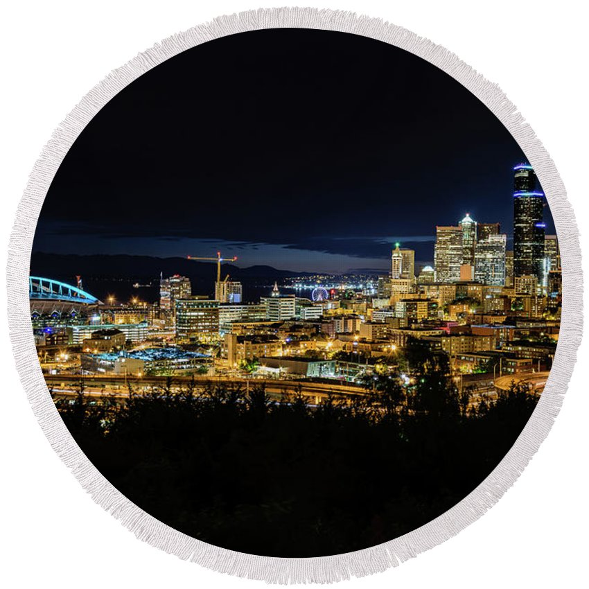 Seattle Round Beach Towel featuring the photograph Seattle Skyline At Night by Cityscape Photography