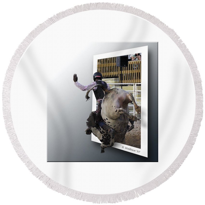 2d Round Beach Towel featuring the photograph 8 Seconds by Brian Wallace