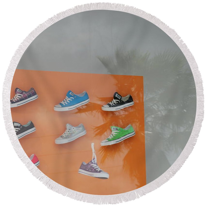 Orange Round Beach Towel featuring the photograph 8 Sneakers by Rob Hans