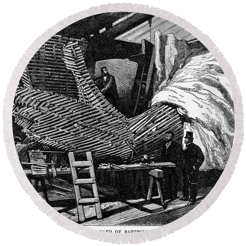 1883 Round Beach Towel featuring the photograph Statue Of Liberty by Granger