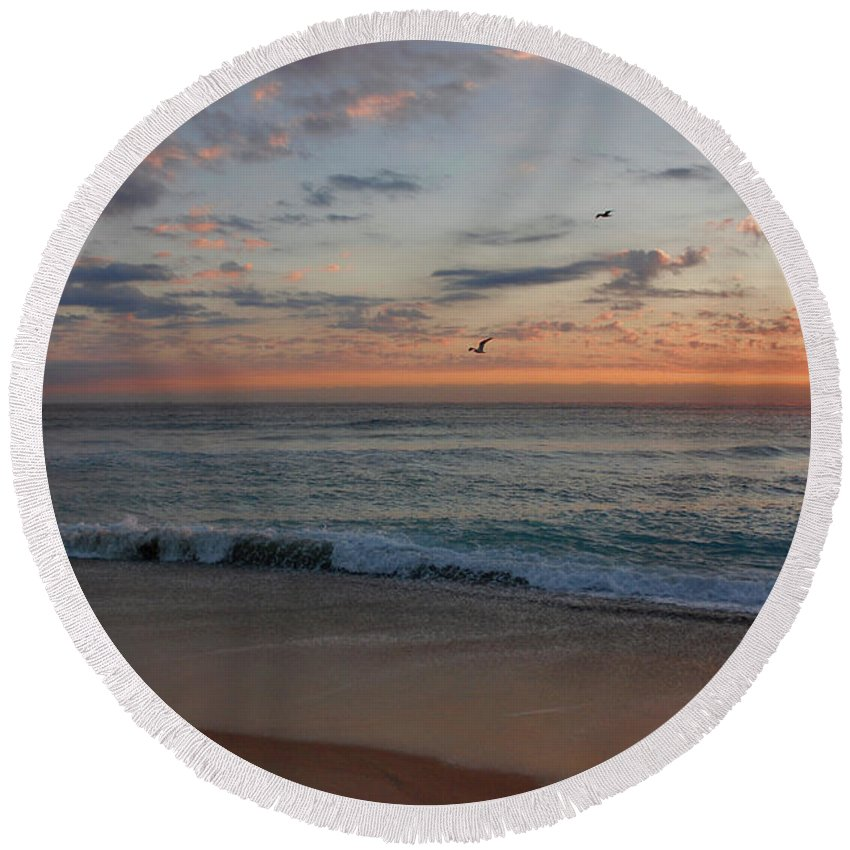 Seagull Round Beach Towel featuring the photograph 8- Sunrise by Joseph Keane