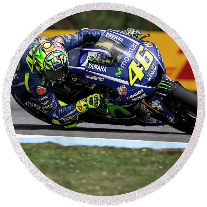 Andrea Dovizioso Round Beach Towel featuring the photograph Valentino Rossi The Doctor by Srdjan Petrovic