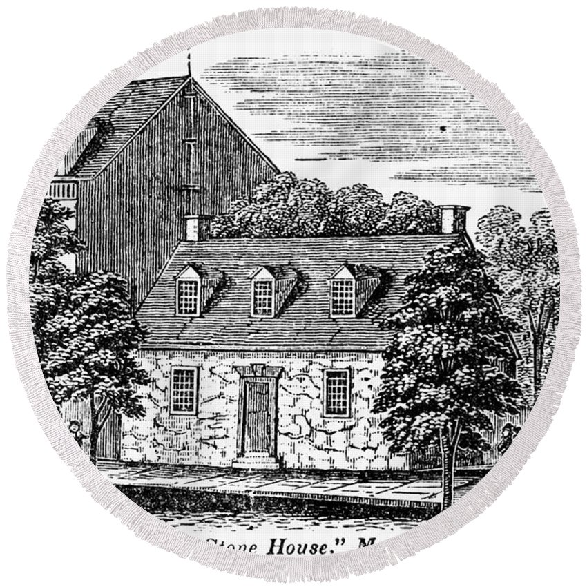 1856 Round Beach Towel featuring the photograph Washington: Headquarters, by Granger