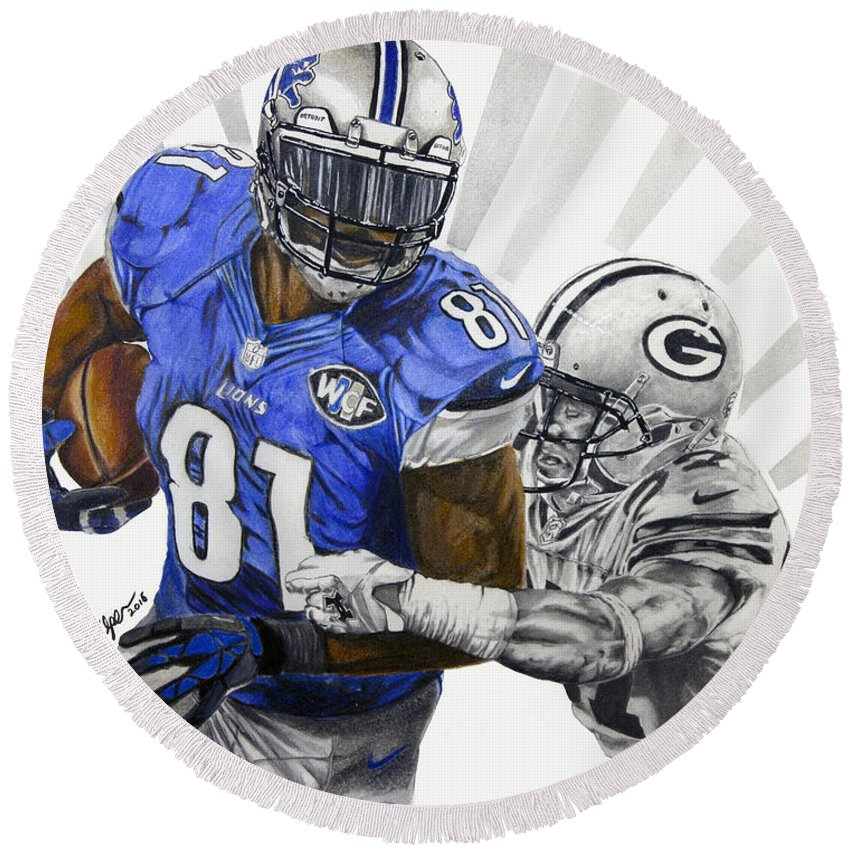 Calvin Johnson Round Beach Towel featuring the drawing #81 Calvin Johnson by Chris Volpe