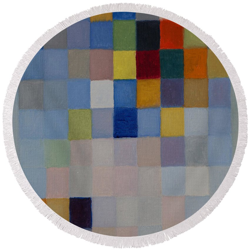 Colorful Round Beach Towel featuring the painting 81 Color Fields - Ultramarine by Attila Meszlenyi