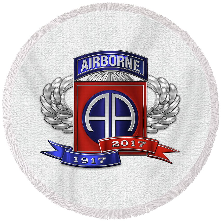 'military Insignia & Heraldry' Collection By Serge Averbukh Round Beach Towel featuring the digital art 82nd Airborne Division 100th Anniversary Insignia Over White Leather by Serge Averbukh