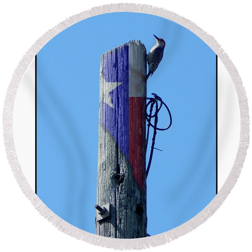 Barbara Tristan Round Beach Towel featuring the photograph #8667 Woodpecker by Barbara Tristan
