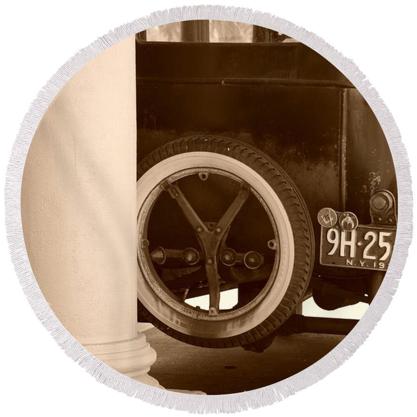 Sepia Round Beach Towel featuring the photograph 1926 Model T Ford by Rob Hans