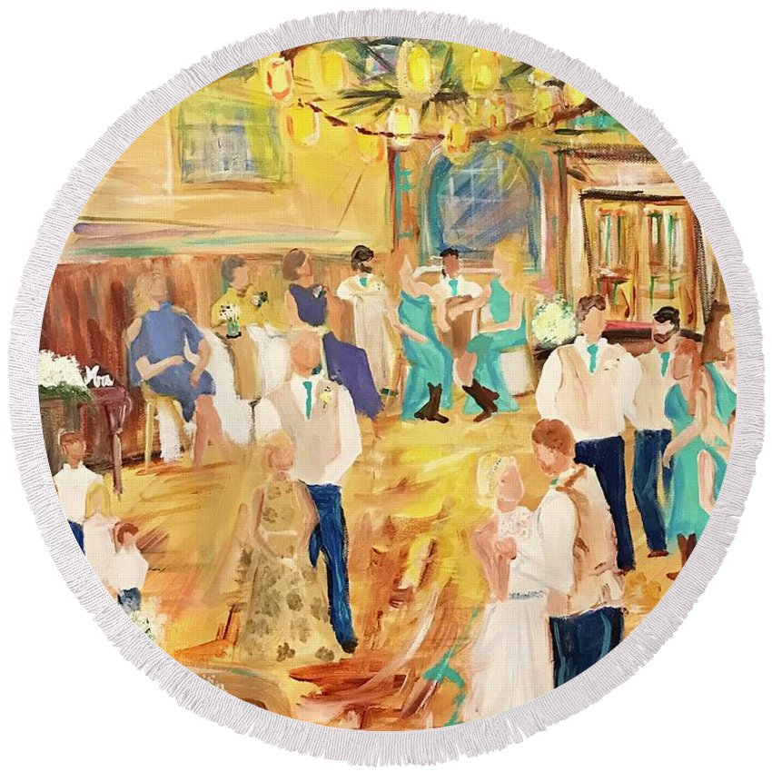 Round Beach Towel featuring the painting 9/23/17 Rustic Barn Nuptial by Hillary George