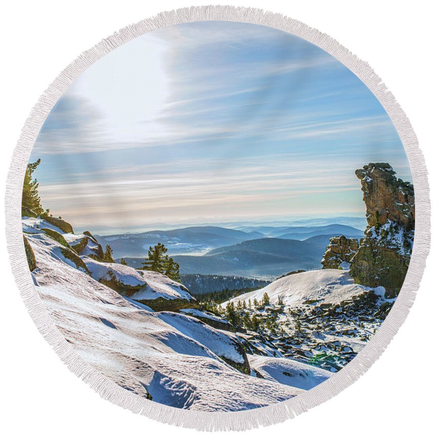 Air Round Beach Towel featuring the photograph Amazing Winter Landscape With Frozen Snow-covered Trees On Mountains In Sunny Morning by Oleg Yermolov