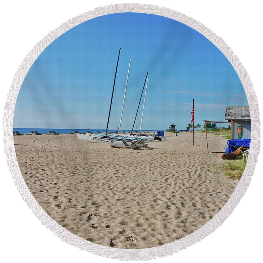 Beach Round Beach Towel featuring the photograph 9- Beach Shack by Joseph Keane