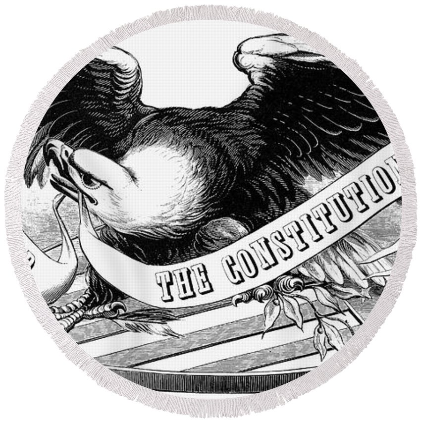 19th Century Round Beach Towel featuring the photograph Eagle, 19th Century by Granger