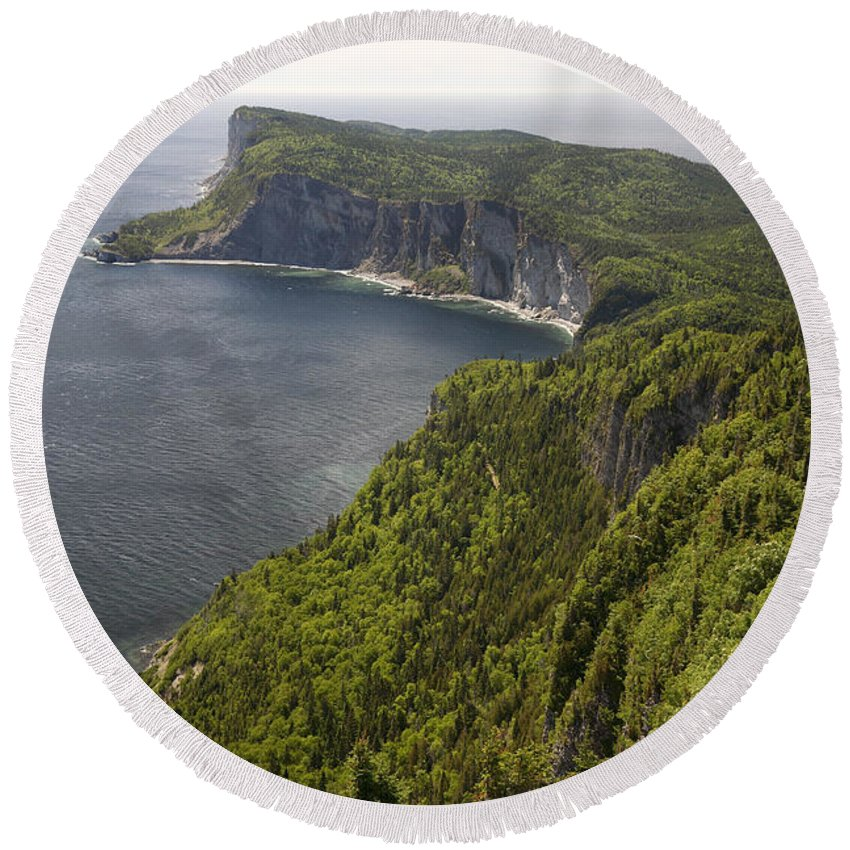 Forillon Round Beach Towel featuring the photograph Forillon National Park by Ted Kinsman