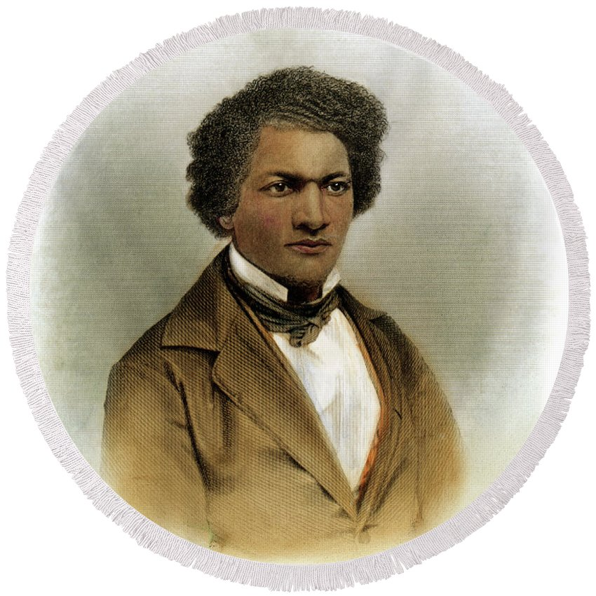 1854 Round Beach Towel featuring the drawing Frederick Douglass by Granger