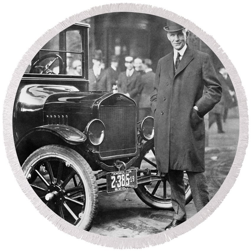 1920 Round Beach Towel featuring the photograph Henry Ford, 1863-1947 by Granger