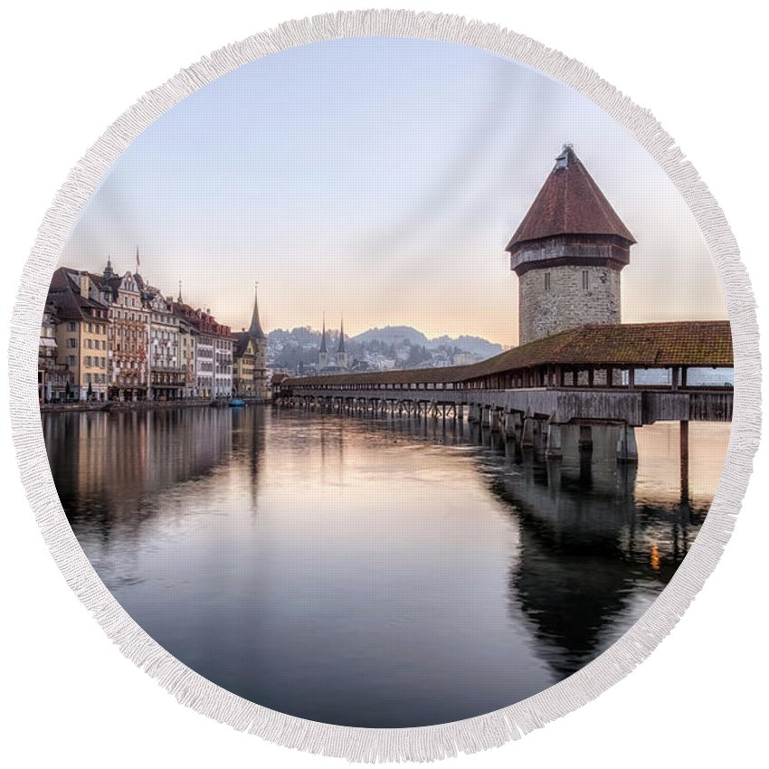 Lucerne Round Beach Towel featuring the photograph Lucerne - Switzerland by Joana Kruse