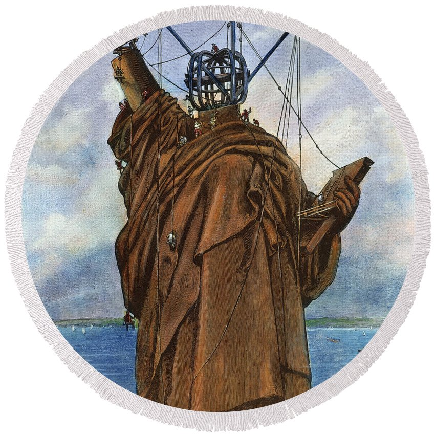 1886 Round Beach Towel featuring the photograph Statue Of Liberty 1886 by Granger