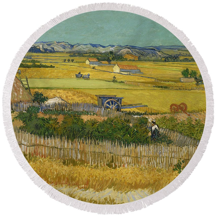 Country Round Beach Towel featuring the painting The Harvest by Vincent van Gogh