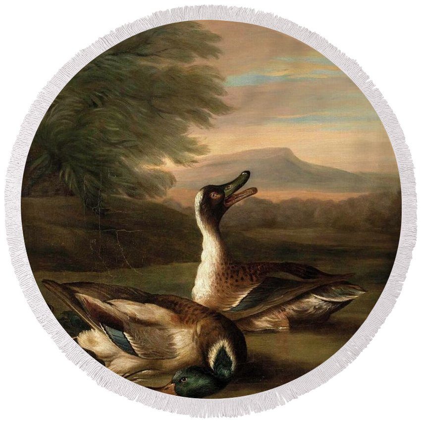 German School Round Beach Towel featuring the painting Two Drakes In Landscape by MotionAge Designs