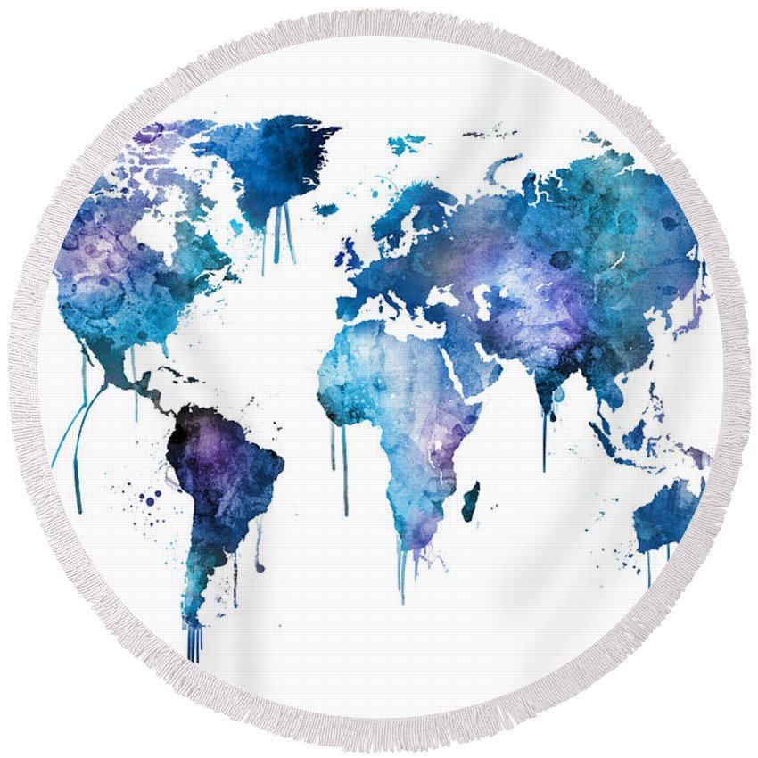 Round Globe Map.Watercolor Map Of The World Map Round Beach Towel For Sale By