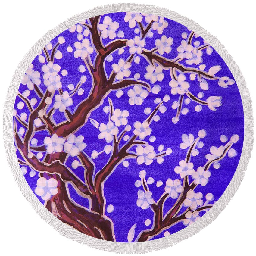 Tree Round Beach Towel featuring the painting White Tree In Blossom, Painting by Irina Afonskaya