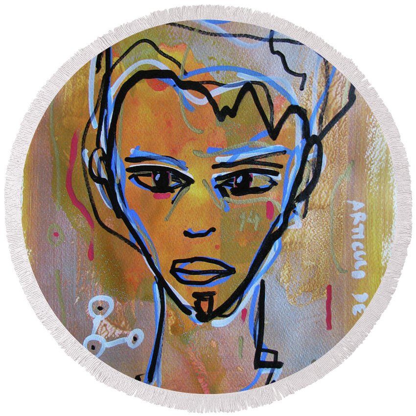 Portrait Face Mixed Media Contemporary Modern Urban Fashion Expressionism Abstract Figurative Eyes Original Painting Decorative Gift Girl Paper Watercolor Canvas Texture Acrylic Spray Paint Silhouette Street Art Drawing Painting Oil Marker Round Beach Towel featuring the mixed media Untitled by Juan Mildenberger