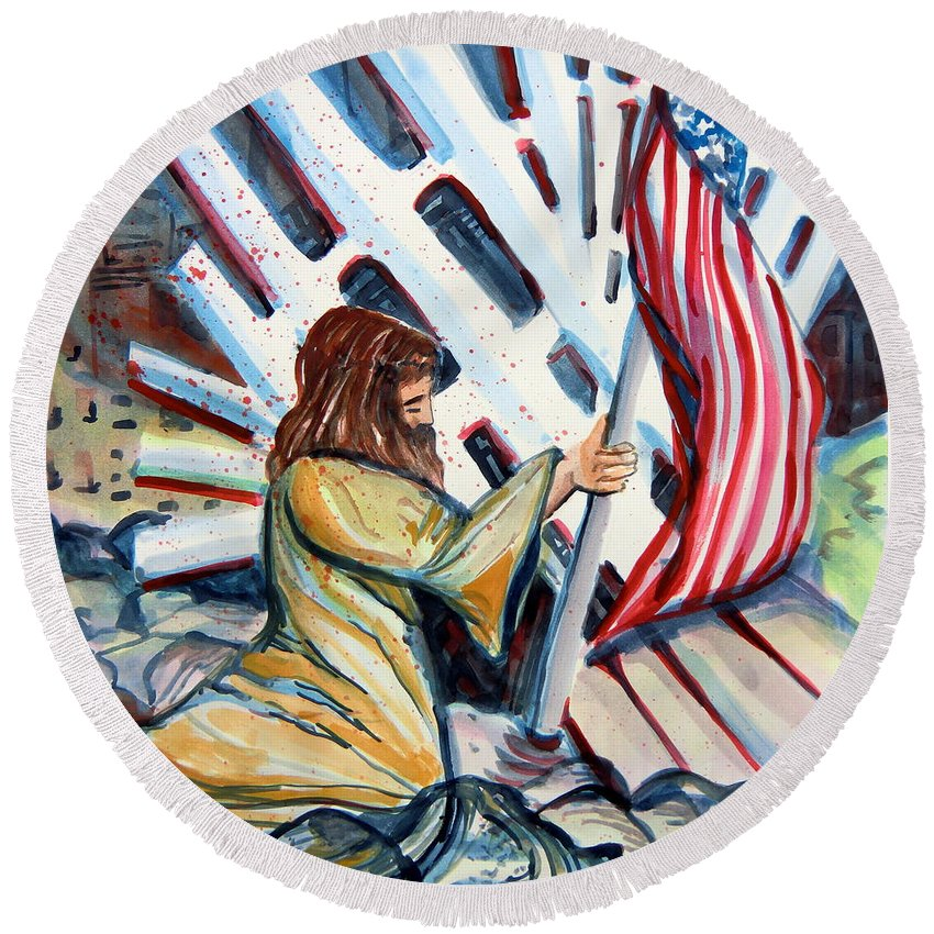 911 Round Beach Towel featuring the painting 911 Cries For Jesus by Mindy Newman