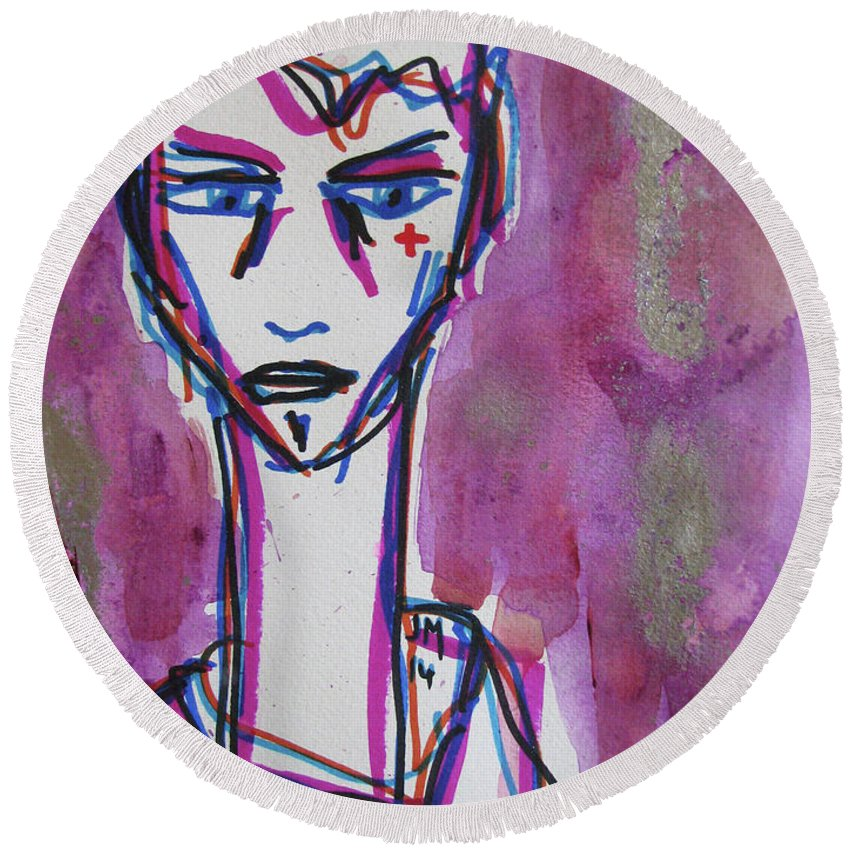 Portrait Face Mixed Media Contemporary Modern Urban Fashion Expressionism Abstract Figurative Eyes Original Painting Decorative Gift Girl Paper Watercolor Canvas Texture Acrylic Spray Paint Silhouette Street Art Drawing Painting Oil Marker Round Beach Towel featuring the drawing Untitled by Juan Mildenberger