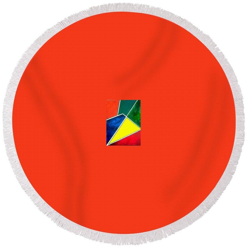 Primary And Sondary Colors Round Beach Towel featuring the painting 99870 Colors by Andrew Johnson