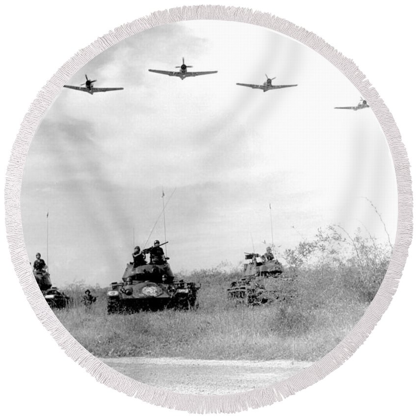 Wwii Round Beach Towel featuring the photograph A-1h Aircraft Make A Low Level Pass by Stocktrek Images