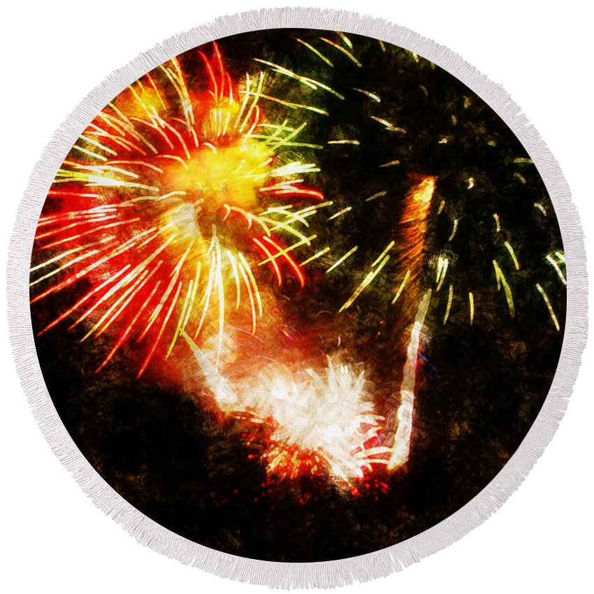 Fireworks Round Beach Towel featuring the painting A 4th Celebration by Adam Vance