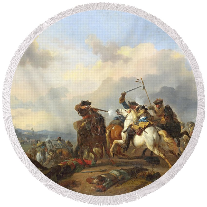 Jan Van Huchtenburg Round Beach Towel featuring the painting A Battle by Jan van Huchtenburg