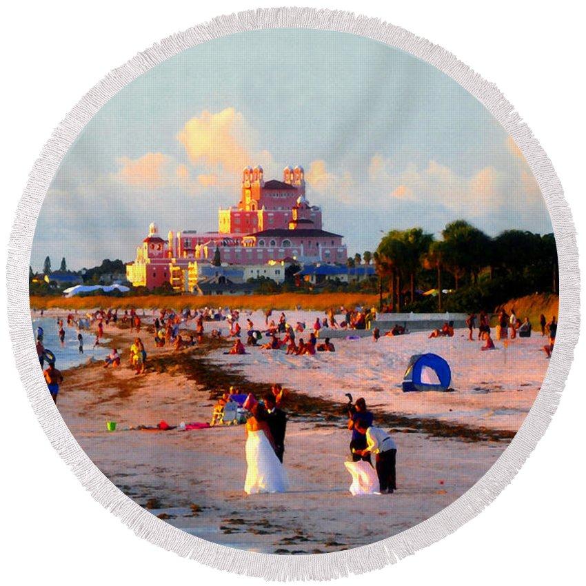 Beach Round Beach Towel featuring the painting A Beach Scene by David Lee Thompson