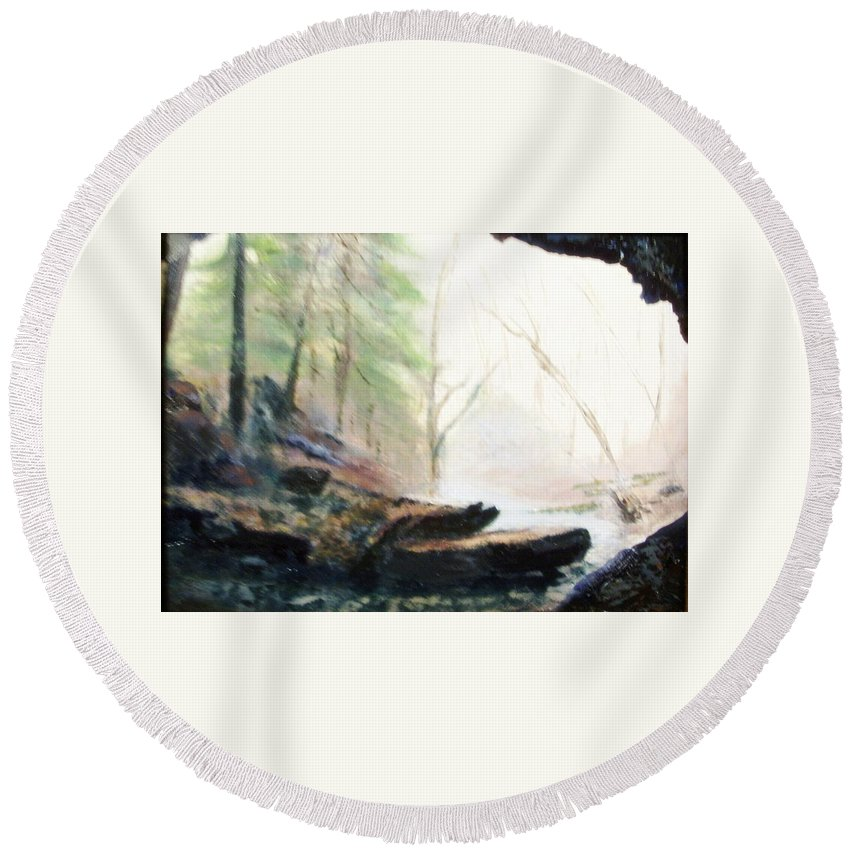 Cave Round Beach Towel featuring the painting A Bears View by Gail Kirtz