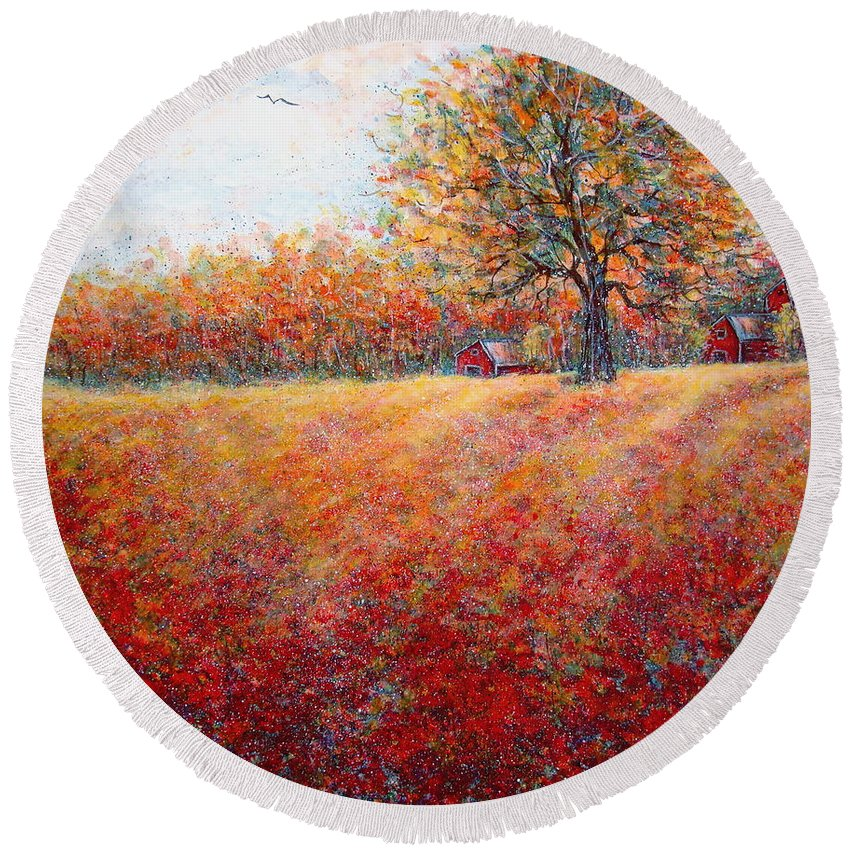 Autumn Landscape Round Beach Towel featuring the painting A Beautiful Autumn Day by Natalie Holland