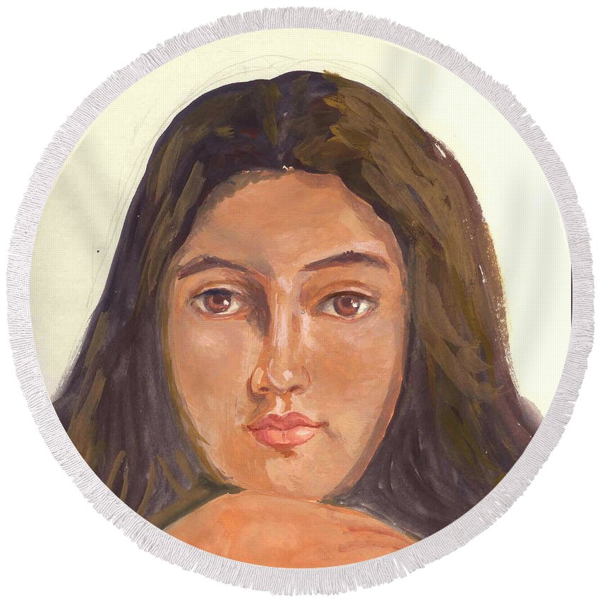 A Young Indian Girl Round Beach Towel featuring the painting A Beautiful Girl by Asha Sudhaker Shenoy