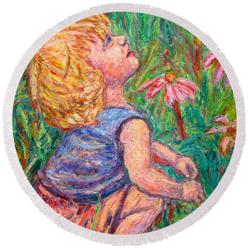 Child Round Beach Towel featuring the painting A Beautiful Moment by Kendall Kessler