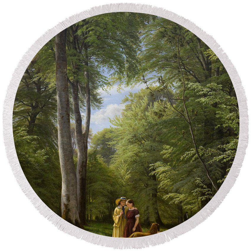 Woodland Round Beach Towel featuring the painting A Beech Wood In May Near Iselingen Manor by Peter Christian Skovgaard