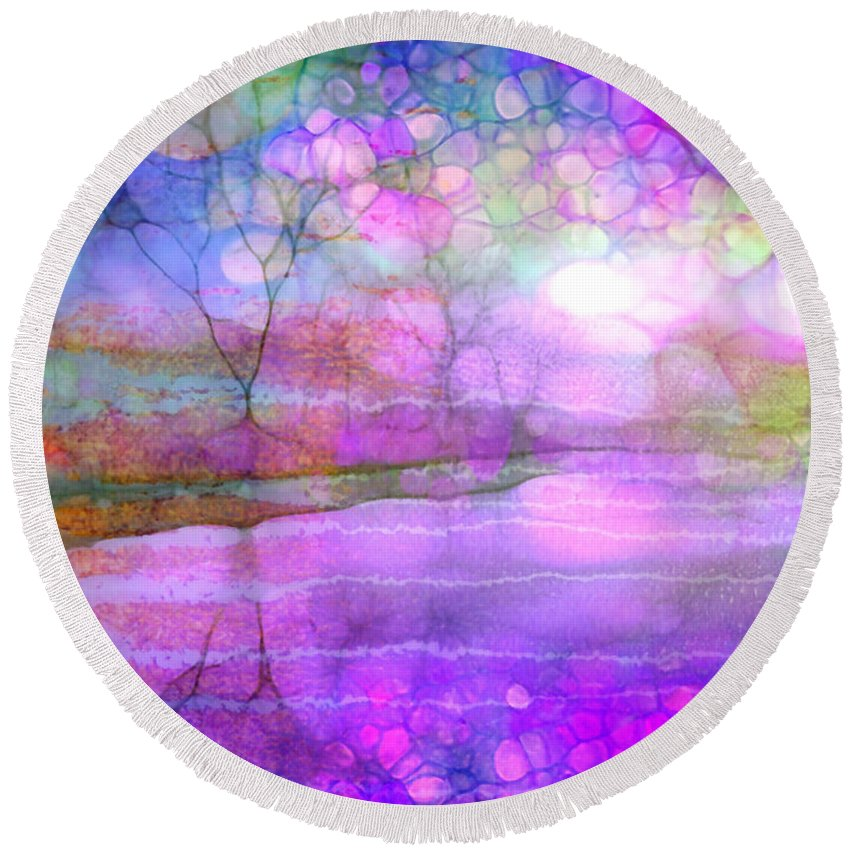 Morning Round Beach Towel featuring the photograph A Bewitching Purple Morning by Tara Turner