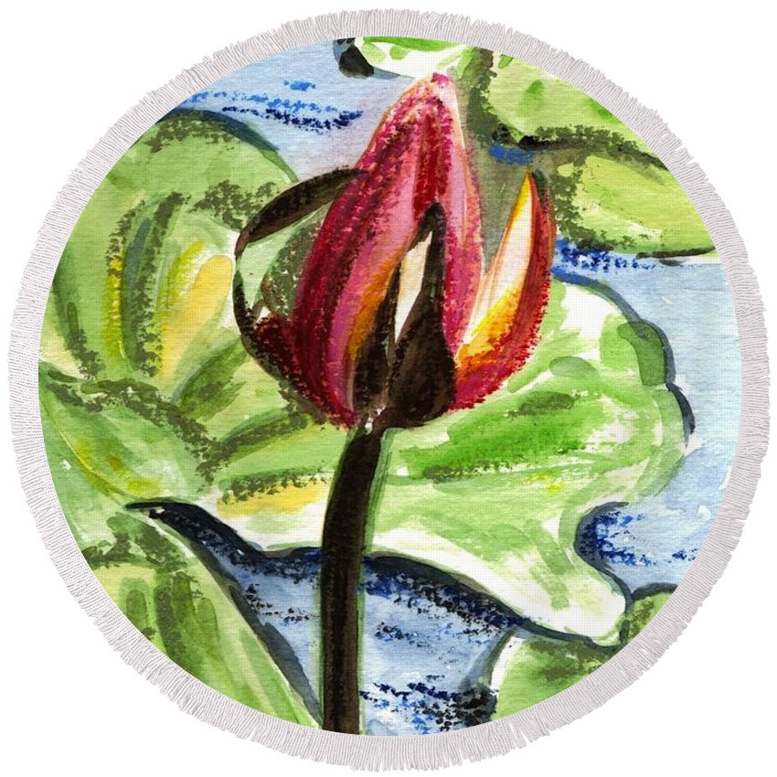 Water Lilies Round Beach Towel featuring the painting A Birth Of A Life by Harsh Malik