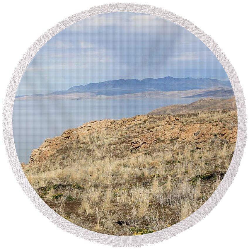 Nature Round Beach Towel featuring the photograph A Blue Sky Day 3 by Tonya Hance