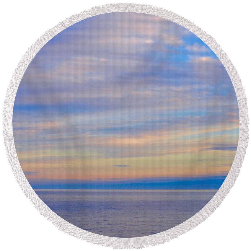 Lake Superior Round Beach Towel featuring the photograph A Blue-tiful Day On Lake Superior by Hella Buchheim