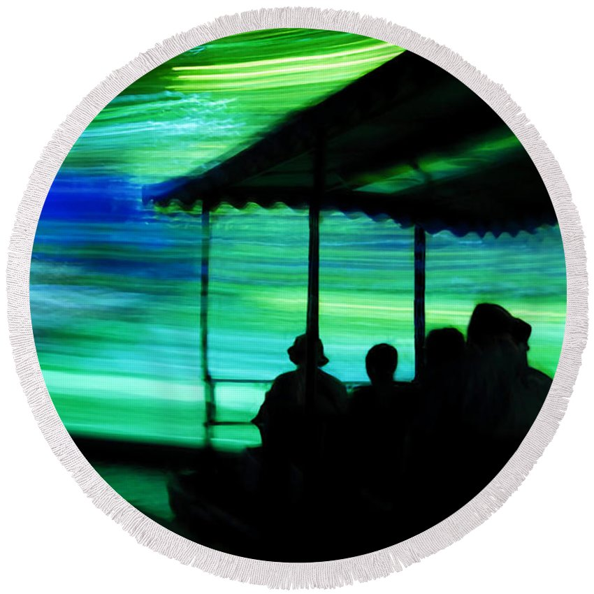 Time Travel Round Beach Towel featuring the photograph A Boat Ride Through Time by David Lee Thompson