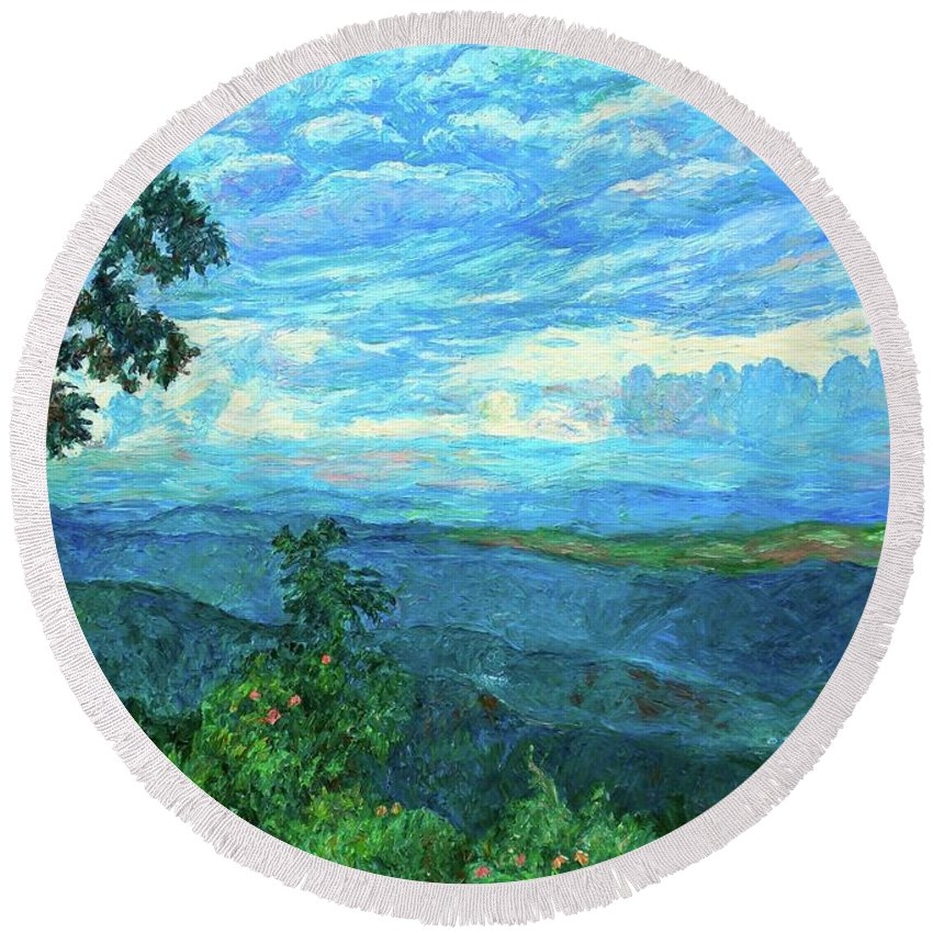 Mountains Round Beach Towel featuring the painting A Break In The Clouds by Kendall Kessler