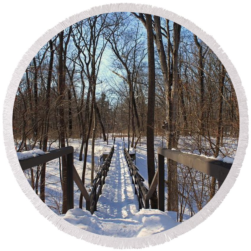 Wildwood Metropark Round Beach Towel featuring the photograph A Bridge At Wildwood by Michiale Schneider