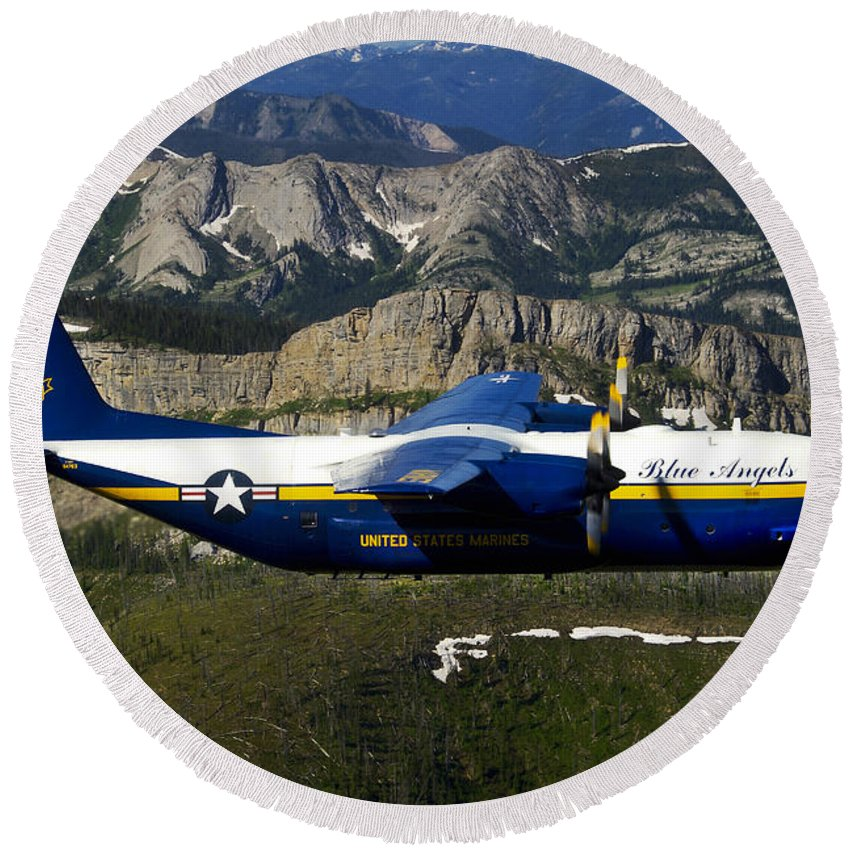 Blue Angels Round Beach Towel featuring the photograph A C-130 Hercules Fat Albert Plane Flies by Stocktrek Images