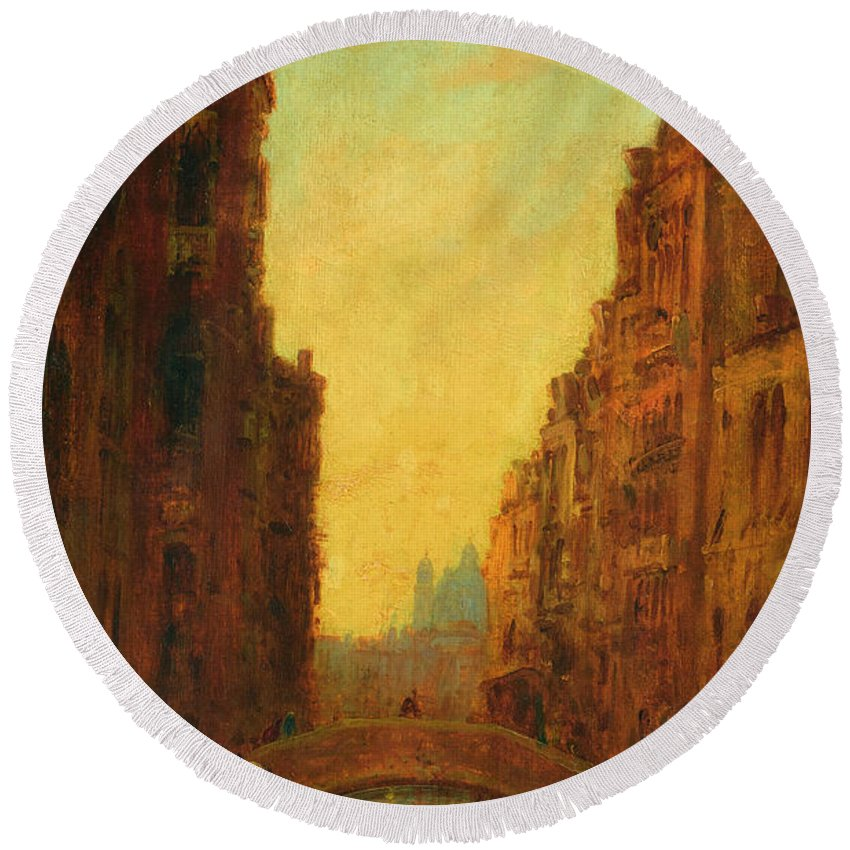 Canal Round Beach Towel featuring the painting A Canal In Venice by Felix Ziem