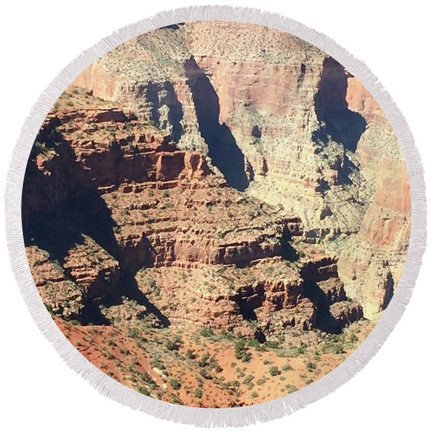 Grand Canyon Round Beach Towel featuring the photograph A Canyon Scene by Wendy S Beatty