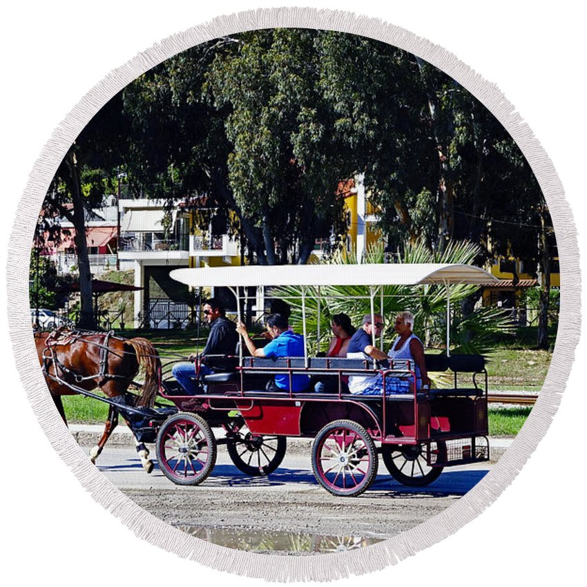 Carriage Ride Round Beach Towel featuring the photograph A Carriage Ride Through The Streets Of Katakolon Greece by Richard Rosenshein